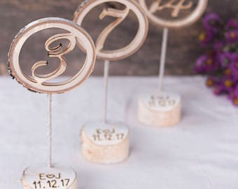Rustic table number, with personalized holder, table numbers, wedding table numbers, wooden wedding numbers on sticks, birch table numbers