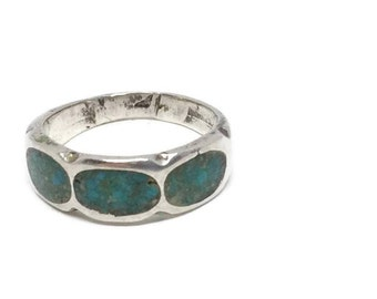 Silver and Turquoise Band Ring Size 6, Wedding Band, Pinky Ring, Sterling Silver Ring, Southwest Style Ring, Southwest Silver Jewelry
