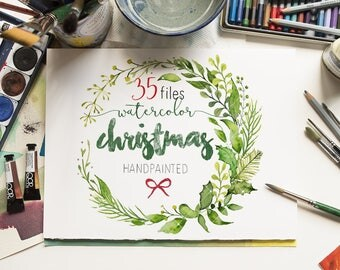 SALE -30%OFF Christmas Watercolor Clipart -  Cards, xmas, Wreath and Frame,Pine Clip Art, Leaves Floral, Hand Painted, PNG, Commercial use