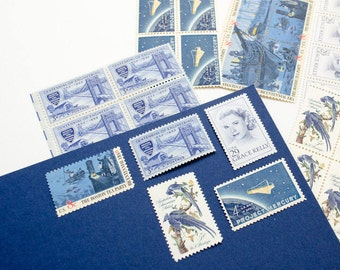 The Grace -- Blue Unused Vintage Stamps -- Postage Set of 5