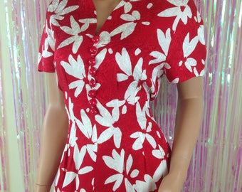 Vintage Maggy London by Jeannene Booher 80s silk red floral Hawaiian dress D3