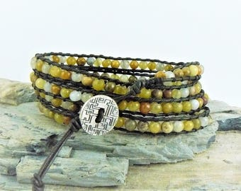 Beaded Wrap Bracelet, Leather Bracelet, Gemstone Bracelet, Quartz Bracelet, Leather Wrap, Yoga Bracelet, Boho Bracelet, Beaded Leather
