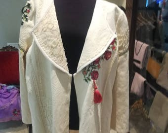 White vintage style jacket with handmade flower crochet,laces.