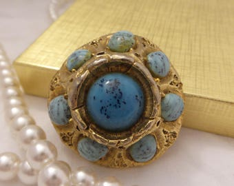 Vintage Gold Tone Brooch with Speckled Blue Stones