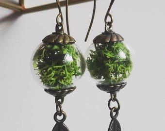 Moss Bead Earrings with Leaf Dangle