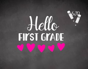 Hello First Grade svg cut file, back to school cut files, back to school svg, first grade svg, first grade clip art, first grade girl svg