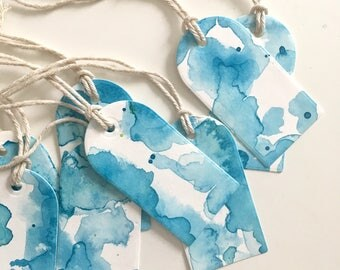 Blue Watercolor Gift Tags