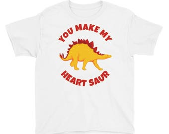 You Make My Heart Saur Dinosaur Stegosaurus Dino Valentines Day Kids Boys Girls School Preschool Youth Short Sleeve T-Shirt