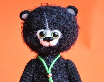 Knitted bear Black toy bear Knitted teddy bear Toy bear Crochet bear Teddy bears for sale Knitted teddy  Knitted Toy