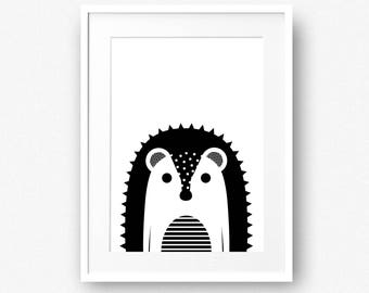 Hedgehog baby print, Woodland creature nursery decor, Black and white forest animal printable, INSTANT DOWNLOAD Toddler poster Kids wall art
