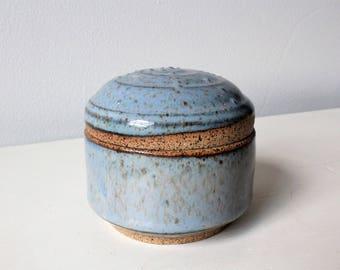 Ceramic Trinket Box, Clay Jewelry Holder, Pottery Small Jar, Ring Dish, Light Blue