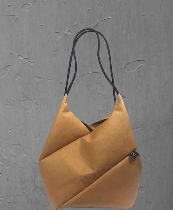 GEOMETRIC refined handbag small shopper cognac from Jacron minimalist design