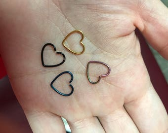 Heart Ring for Helix Piercings, Daith Piercings, Rook Piercings, etc
