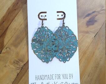 Blue Patina and Bronze Metal Mandala Earrings, Lightweight Metal, Aged, New Vintage, Large Boho Style Statement Earrings