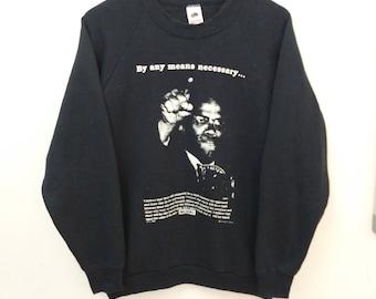 Vintage MALCOM X //Sweatshirt Graphics//Size L//Made In USA Fruit of Loom tag//Raglan