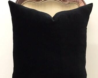 Luxury Black Cotton Velvet Pillow Cover Black Pillows 18X18 Velvet Pillow Decorative Designer Pillows Cushions Black Velvet Pillow Covers