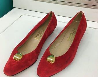 70s Salvatore Ferragamo Red Suede Shoes, Size 6