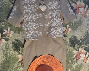 Beige and White 2 PC Dress/Size 4