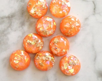 resin gold flakes cabochon, 12mm flake cabochon, gold flakes, orange cabs, flat back stone supplies lots, material, jewelry making tools