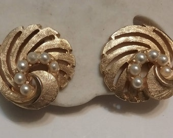 Gold Tone Spiral and Pearl Earrings