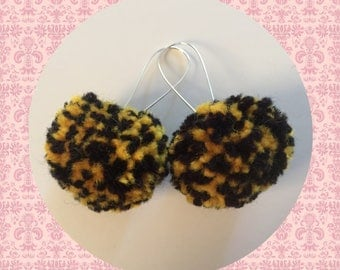 Pom Pom Earrings In Black And Yellow Festival Style