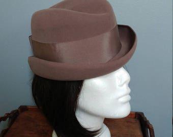 Women's Vintage Fedora // Renslaw 60s Taupe Brown Felt Hat // English Maridette Hat // Boho Hat // Lightweight Hat