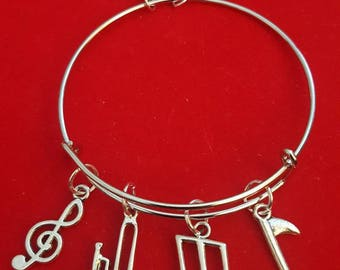 Silver Trombone Themed Charm Bracelet