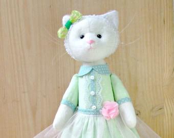 Handmade Cat- Textile cat -Cat doll- Fabric cat- Handmade toy- Cat stuffed toy- Cat Stuffed Animal-Cat Plushie - girl  gift-Cat lover gift