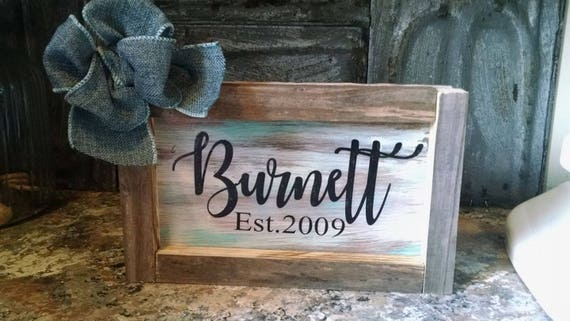 Personalized Est. established year sign gift rustic country wedding christmas free shipping anniversary gift