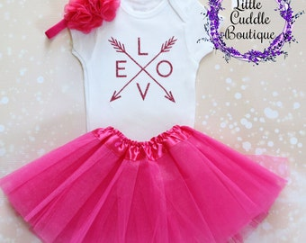 Pink Love Outfit, Birthday Outfit, Baby Girl Gift, Hot Pink Tutu, Baby Girl Outfit, Pink Headband, Love Onesie, Valentine's Day Outfit, Baby