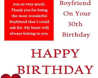 Boyfriend 30 Birthday Card with removable laminate