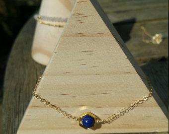 Lapis Lazuli with 14k gold filled chain bracelets handmade jewellery