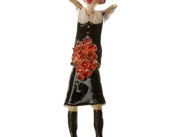 Ceramic Wall Art |  Black Dress | Black Boots  | Red Roses and Hat  | Elegant Fashionista Angel | Quirky Gift or a Home Decor