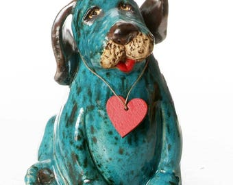 Teal Puppy Dog | Gift for Dog  Lovers | Quirky Gift | Wooden Plaque to write a message