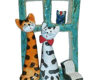 Ginger Cat & Tabby Cat on a Teal Window Sill | Cat Lovers Gift | Quirky Ornament | Hand Made Ceramic Cat Figurine
