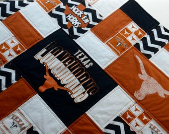 Texas college football baby T Shirt quilt with minky backing - Longhorns football theme - Homemade