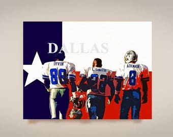 Dallas Cowboys Art, Print or Canvas, Troy Aikman, Emitt Smith, Michael Irvin Poster, Dallas Cowboys Fan Decor, Texas Sports Team Picture