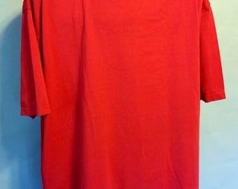 80s Jerzees Blank Red Short Sleeve Heavy 50/50 Polycotton Tee T-Shirt Sz XL Vintage Retro 1980s Soft Comfy Primary Colors Crew Cut