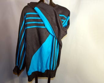 1980s Abstract Black Blue Wool Sweater Womens Sz Medium Large XL Oversized Boat Neck Long Sleeved Stripe Geometric Vapor Wave Retro Grunge