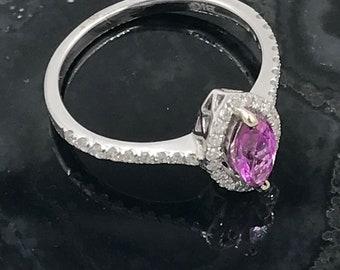 Size 7 - 14k white gold diamond pink sapphire ring