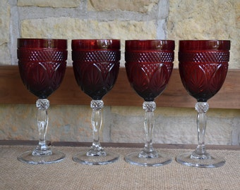 Set of Two (2) Cristal D'Arques Durand Ruby Red Wine Glasses
