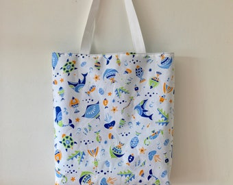 "Handmade tote bag, carry all bag for knitting project 13.5"" x 11.75"" x 3"" *Sea Life*"