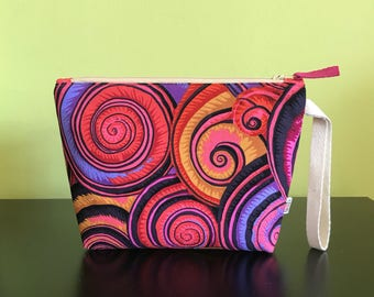 """Handmade small zipper purse for notions and accessories 8.5"""" x 6.5"""" x 6"""" x 2""""  *KFC Coloursplash*"""