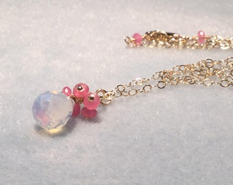 Gemstone cluster necklace; Opalite necklace; wire wrapped gemstone pendant necklace; pink and blue; summer jewelry