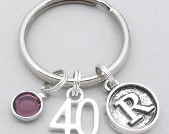 40th birthday keyring   40th keychain   personalised 40th birthday gift   40th gift   vintage style initial