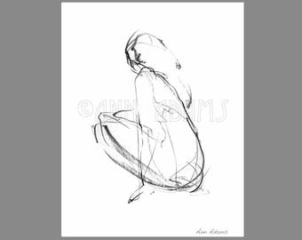 006 Female Figure Drawing, Minimalist Art, Black and White, Ink Print from My Original Pencil Artwork by Ann Adams