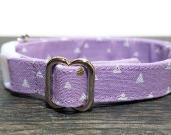 Geometric Cat Collar,Triangle cat collar,Purple Cat Collars, Breakaway Collars, Cotton Cat Collars, Cat Collars, Kitty Collar, Cats Collar