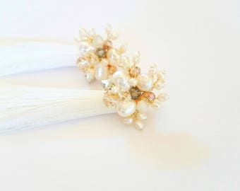 White tassel earrings with pearls and crystals