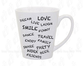 Coffee Mug  Latte Personalized Custom Life Love Friends Gift 12 oz Ceramic NEW!