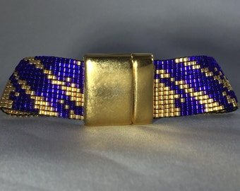 Geaux Tigers LSU Inspired Seed Beed Bracelet